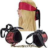 Ellis Women's Sexy Leather Handcuffs SM Bondage Restraints and Black&Red Sleep Eye Mask Blindfold Sets for Sex