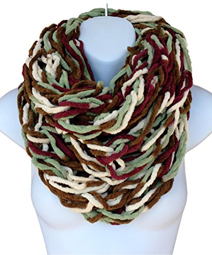 Handmade Chunky Knit Chenille Infinity Scarf Cowl Multi Color