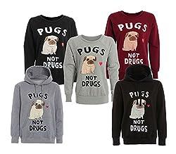 Top Fashion Womens Womens Ladies Pugs Not Drugs Print Hooded Sweatshirt Printed Jumper Top 8-14