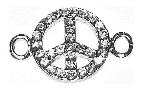 Undee Bandz Rubbzy Rhinestone Rubber Band Bracelet Charm Peace Sign - 1