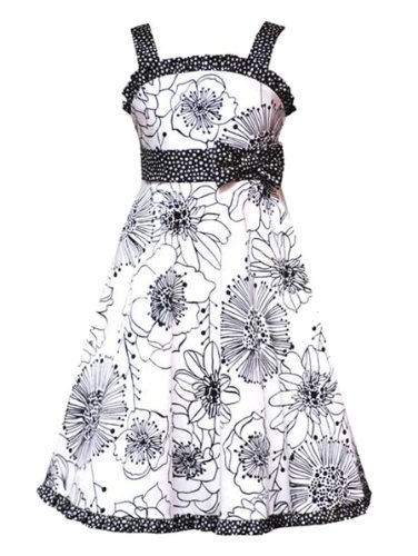 Rare Editions Girls PLUS Size IVORY BLACK FLORAL PRINT POLKA DOT TRIM Special Occasion Wedding Flower Girl Party Dress-10.5 RRE-24790E-E424790
