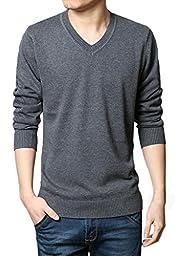 Wantdo Men\'s Solid Collor Pullover Sweater US Medium Dark Grey