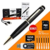 MINICUTE Hidden Camera Pen - bundle 16GB MICRO Card +  6 INK FILLS +updated battery+SD card Adapter+Card reader-Record in 1280x720 p HD- Super Easy To Use With Full Size USB