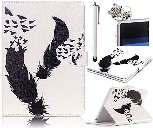 Etui iPad Mini 4, Sunroyal® Coque Housse Slim-Fit Flip Portefeuille Tablet Case Cover PU Cuir Motif Plume de Protection avec Support pour Tablette