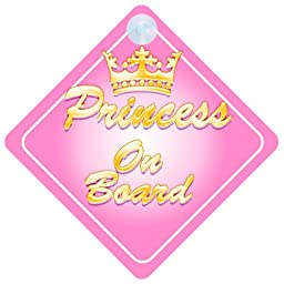 Crown Princess On Board Car Sign New Baby / Child Gift / Present / Baby Shower Surprise