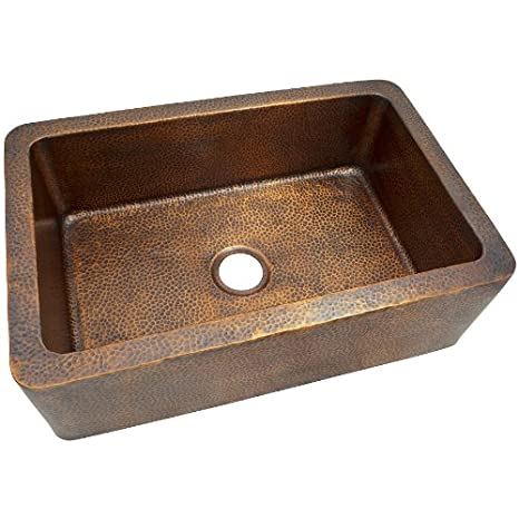 The Copper Factory CF165AN Solid Hand Hammered Copper 32-Inch by 21-Inch Large Single Bowl Farmhouse Sink, Antique Copper