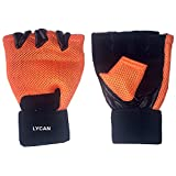Lycan Unisex Leather Gym Gloves2 (Standard Size, Orange)