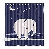 Obtenez La Meilleure Offre 167 cm x183 cm (66X72 pouces) salle de bain rideau de douche, en dessin animé personnalisé fond de ciel bleu motif éléphant abstrait bain imperméable rideau de douche moisissure.