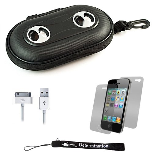 Black Portable Hard Case Cover Shell with Integrated Speakers for Apple iPhone 4 ( 4th Generation 16GB 32GB - AT&T and Verizon ) + Includes Anti Glare Screen Protector Guard + Includes a USB Data Sync Cable for your iPod Touch