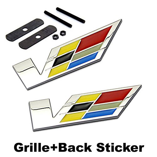 2pcs Sets AM70 V Racing Front Grille + Back Sticker Car Emblem Badge For Cadillac ATS CTS EXT SRX XTS XLR (Cadillac Car Stickers compare prices)