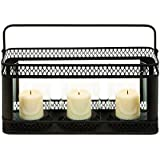 Candle Holder In Black Finish With Solid Construction