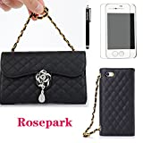 Rosepark(TM) Luxury Crystal flowers and Diamond pendant Convenient Handbag Wallet Leather Carry Case Cover With Credit Cards Slots Fit For Iphone4 4G 4S(Black)