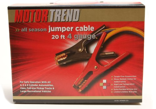 Motor Trend MTA420-CCA  20-Foot Jumper Cables with Extended Clamps, 500-AMP