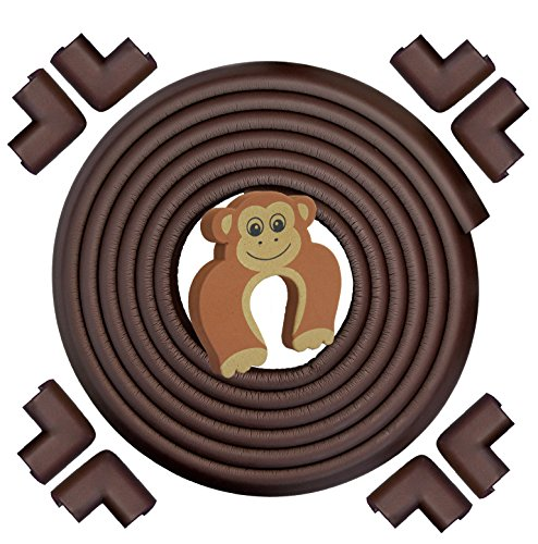 Premium Edge & Corner Guards by Bébé Earth - EXTRA LONG, EXTRA DENSE 20.4 ft Covering With 8 PRE-TAPED Cushion Bumpers - FREE Child Door Slam Stopper - COFFEE BROWN - Best Home Childproofing Protector
