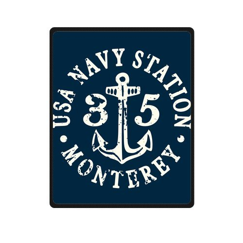 Personalized Fashion Monterey Usa Navy Station Anchor Logo Picture Fleece Blanket 40 X 50 front-1079284