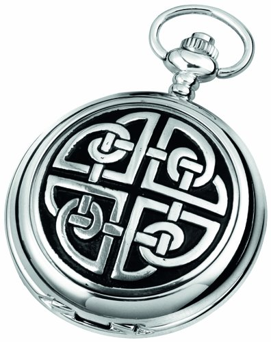 Woodford Quartz Pocket Watch, 1909/Q, Men's Chrome-Finished Celtic Knotwork Pattern with Chain (Suitable for Engraving)