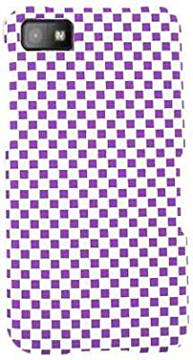 Cell Armor BBZ10-SNAP-3D308 Snap-On Case for BlackBerry Z10 - Retail Packaging - Embossed Purple and White Checkers by Cell Armor