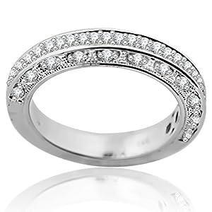 14K White Gold Wedding Band Anniversary Ring 1/3ctw Diamonds Pave Set Filigree (i2/i3, i/j) (7.5)