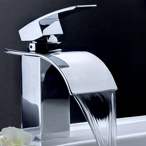 LightInTheBox Single Handle Waterfall Centerset Lavatory Faucet with Curved Spout, Chrome