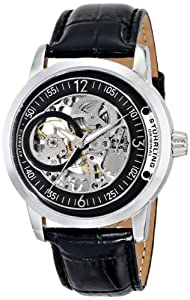 Stuhrling Original Classique Delphi Saros Men's Automatic Watch with Black Dial Analogue Display and Black Leather Strap 837.02
