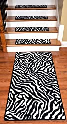 "Premium Carpet Stair Treads - Zebra 30"" x 9"" PLUS a Matching 5' Runner"