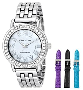 Anne Klein Women's Silver-Tone Swarovski-Accented Watch with Three Additional Straps