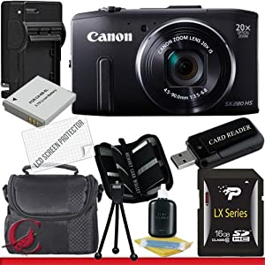 Canon PowerShot SX280 HS Digital Camera (Black) 16GB Package