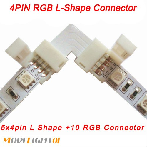 Morelight 5Pcs Pack L-Shape 10Mm 4-Conductor Quick Splitter Right Left Angle Corner Connector For 5050 Rgb Multi-Color Led Strip Light
