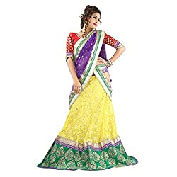 Aagaman Fashions Net Lehenga Choli (TSSF10004_Yellow)
