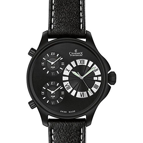 Charmex Cosmopolitan Ii Homme 48mm Noir Cuir Bracelet Date Montre 2605