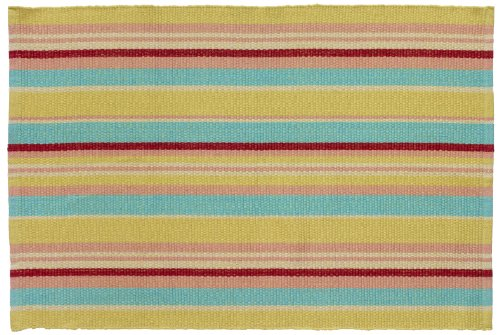 Extra Weave USA 2 by 3-Foot Cottage Stripe Rug, Citron, Teal and Pink