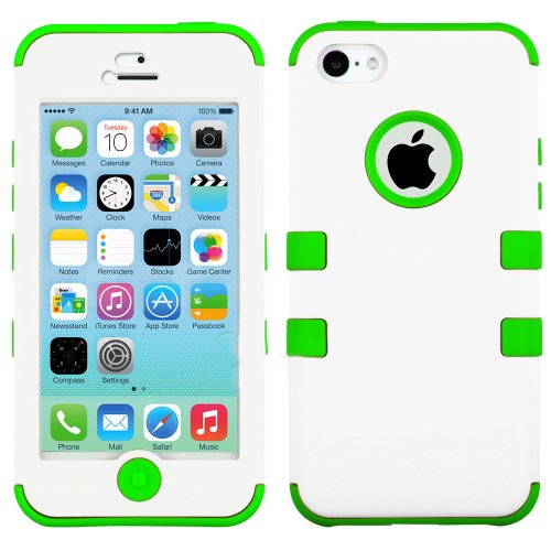 Mylife Bright Green And White - Flat Color Series (Neo Hypergrip Flex Gel) 3 Piece Case For Iphone 5/5S (5G) 5Th Generation Itouch Smartphone By Apple (External 2 Piece Fitted On Hard Rubberized Plates + Internal Soft Silicone Easy Grip Bumper Gel)