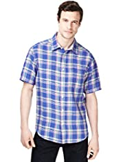 Blue Harbour Pure Linen Bold Checked Shirt