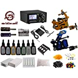 1TattooWorld Deluxe Tattoo Kit 2 Machine Gun Power Supply Needles 7 color 1/2 oz Inks, OTW-KK01