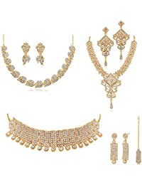 RG FASHIONS GOLD COMBO NECKLACE SET WITH AUSTRIAN DIAMOND AND STUDDED STONE