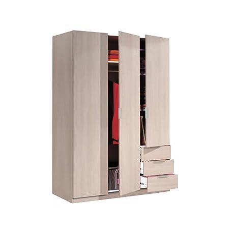 Armadio 3 ante + 3 cassetti guardaroba L121xP52xH180cm arredamento LCX323R