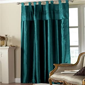 Embroidered Taffeta Curtain Panel Teal Sequins 145x228 Kitchen Home