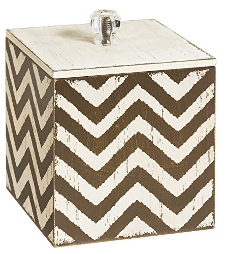 Shabby Chic Chevron Wood Storage Container - 1
