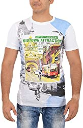 TUNE FASHION Men's Cotton T-Shirt_White_M