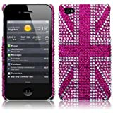 iPhone 4S / iPhone 4 Pink Union Jack Diamante Case / Cover / Shell / Shieldby TERRAPIN