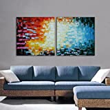 IARTS Bedroom Pictures Thick Painted Abstract Knife Painting Set of 2(no frame, no stretcher)