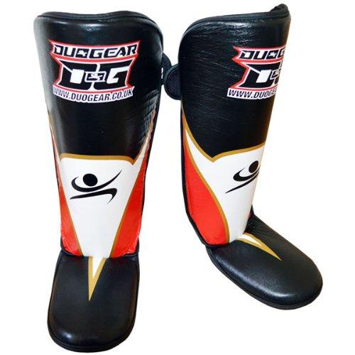 Duo Gear Uomo Aero Muay Thai kickboxing Stinco e collo del piede Protector, Uomo, Aero Muay Thai, Black/red, L