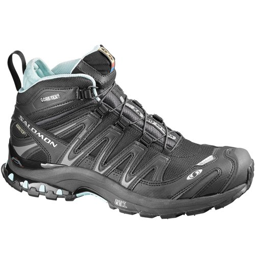 Salomon Women's XA Pro 3D Mid GTX Ultra Trail Running Shoe,Black/Asphalt/Aqua Tint,8 M US