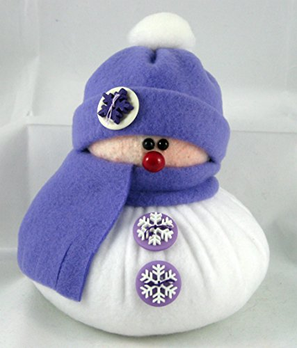 christmas-decoration-handmade-stuffed-snowman-in-light-purple-fleece-with-purple-and-white-trim