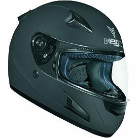 Vega X888 Full Face Helmet (Flat Black, Small)
