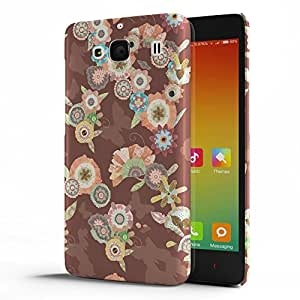 Koveru Designer Protective Back Shell Case Cover for Xiaomi Redmi 2 - Flower Bouquets Brown