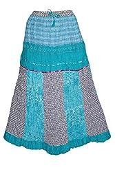 Indiatrendzs Fashion Skirts Women Printed Cotton Blue Summer Long Skirt