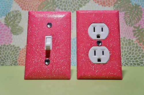 Set Of Jelly Bean Pink Glitter Switch Plate Outlet Covers All Styles Available! front-281429
