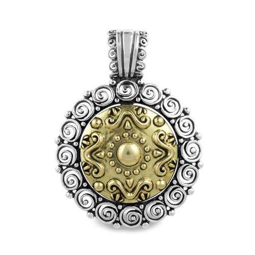 Mixed Metal Ornamental Medallion Pendant Enhancer