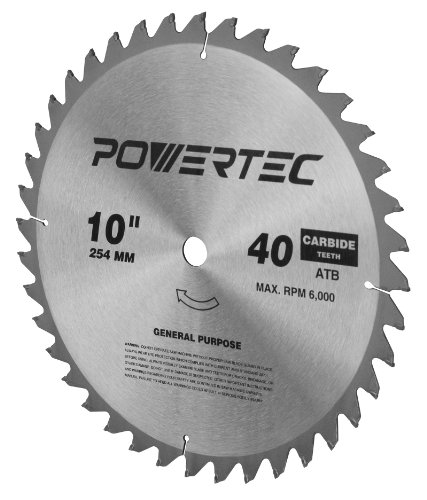 Powertec 15011 10 inch 40 teeth atb table saw blade with 5 for 10 inch table saw blades